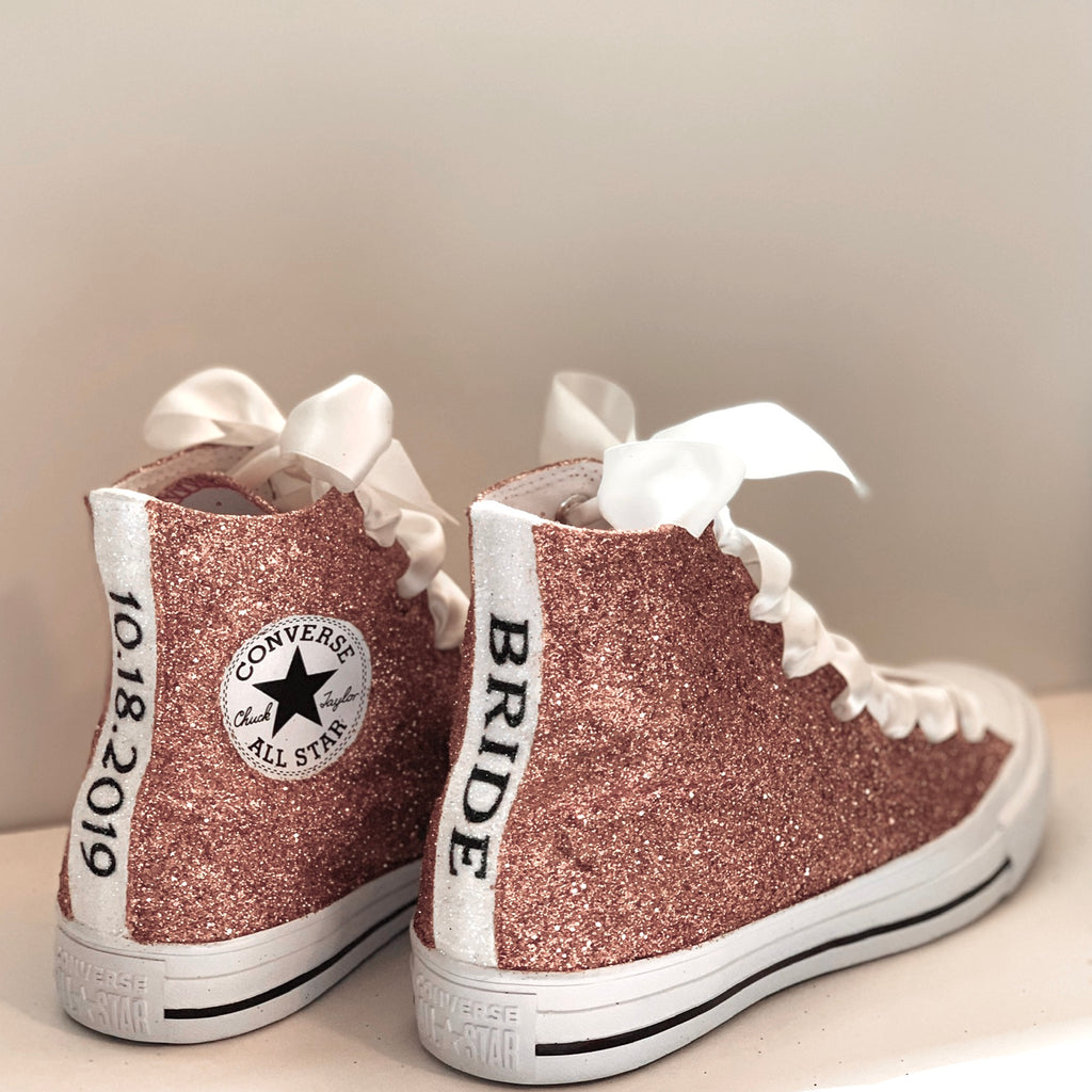 Women's Sparkly Glitter Converse All Stars High Top - Rose Gold