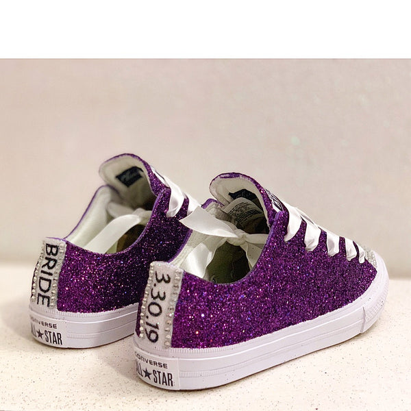 Womens Sparkly Glitter Bling Crystals Converse All Stars Plum Deep Purple Bride Wedding shoes Prom
