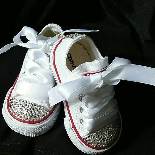 Kids Girls White Converse All Stars Bling Flower Girl Shoes Wedding bride