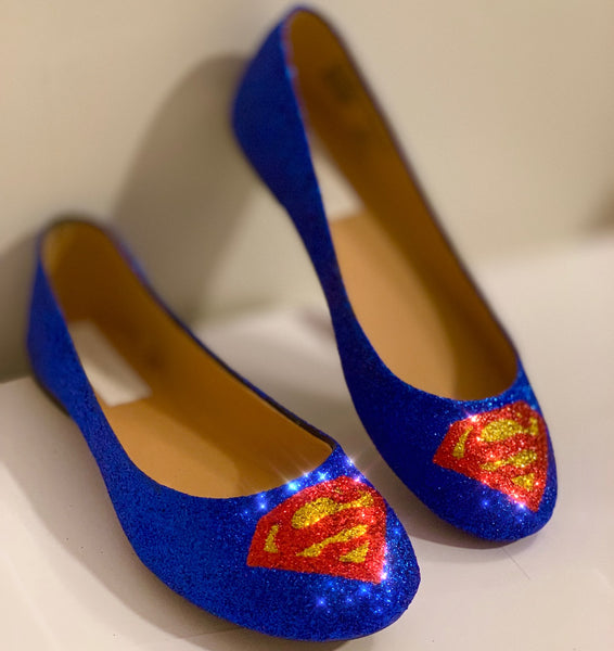 Women's Sparkly SuperHero royal blue Glitter ballet flats shoes Superman wedding bride prom