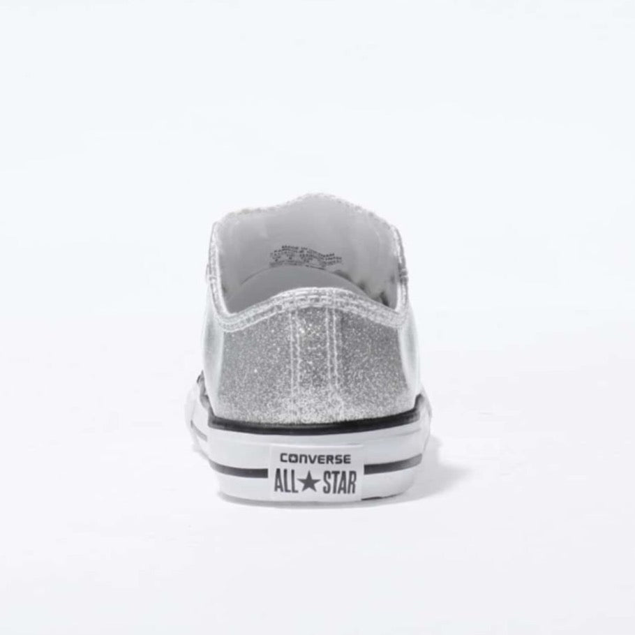 eaa1624f4d25 ... Toddler & Girls Sparkly Glitter Converse All Stars Crystals Sneakers  Shoes -Silver ...