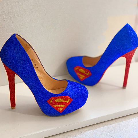 Women's Superman Sparkly SuperHero Royal Blue Glitter Heels wedding bride pumps shoes