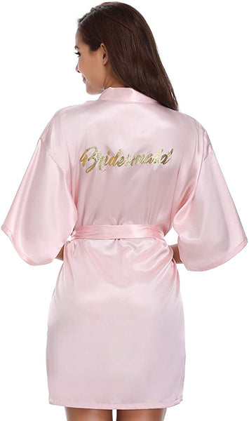 WOMENS PINK SATIN BRIDESMAID ROBE SALE - Size Large