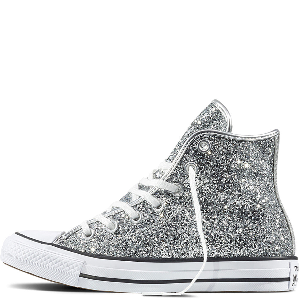 ... Women s Sparkly Glitter Converse All Stars Silver Sterling Bling High  Top Wedding Bride Shoes ... a760d5dfde
