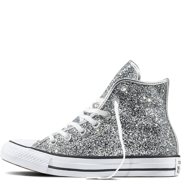 Women's Sparkly Glitter Converse All Stars Silver Sterling Bling High Top Wedding Bride Shoes