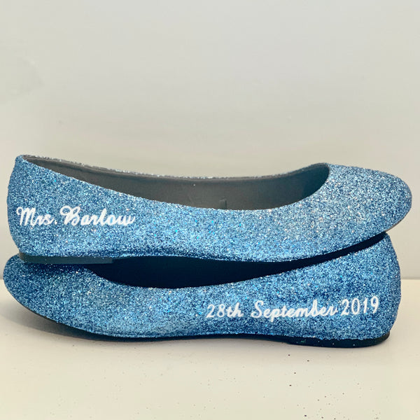 Womens Sparkly Cinderella Blue Glitter ballet Flats shoes Personalized wedding bride