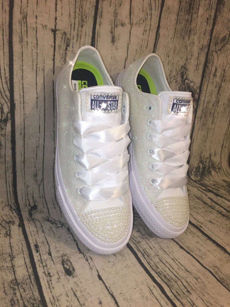 2a86a159f5d9cb Ivory White Glitter pearls Converse All Stars LUX Wedding bride shoes –  Glitter Shoe Co