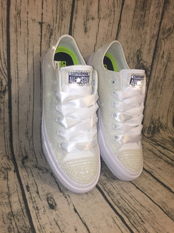 Women's Sparkly White or Ivory Glitter Converse All Stars pearls Bride Wedding shoes