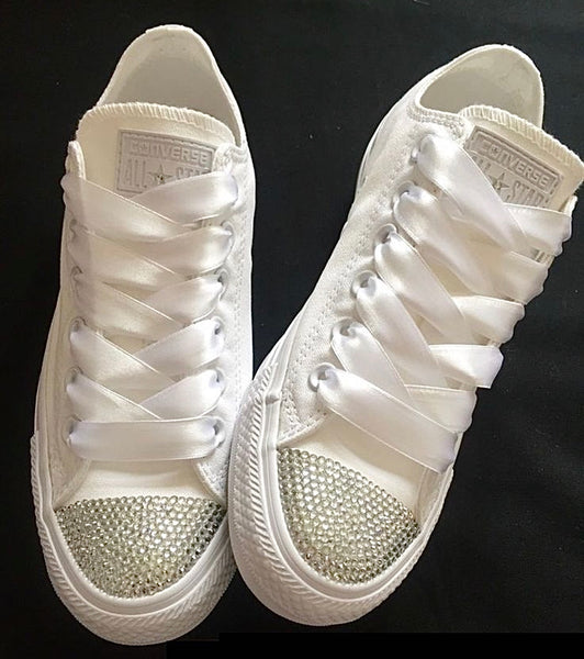 Womens Converse All Star Mono White Crystals Sneakers Shoes wedding Bride