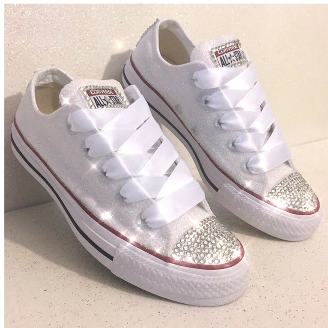 9e767eae7440 Womens Sparkly Glitter Converse All Stars Wedding Shoes sneakers White – Glitter  Shoe Co