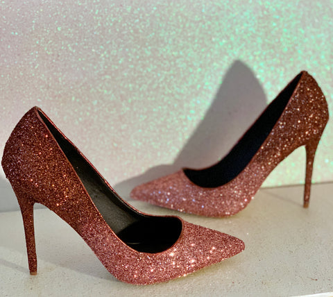 Women's Sparkly Glitter Heels Pointed Toe Pumps Shoes Ombre - Nutmeg / Rose Gold