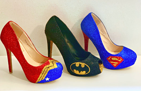 Wonder Woman WW Super Hero Glitter heels shoes wedding bride
