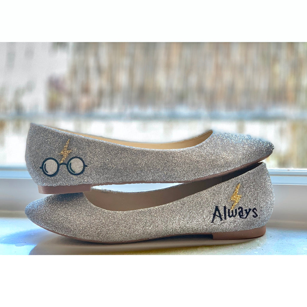 Women's Sparkly Silver Glitter ballet Flats bride wedding shoes Harry Potter