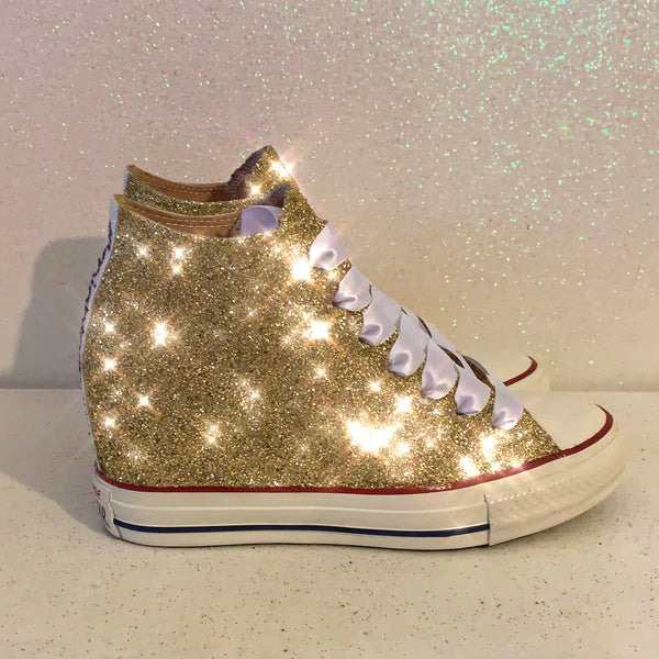 Women's Sparkly Glitter Converse All Stars Lux Wedge Heel - Champagne Gold