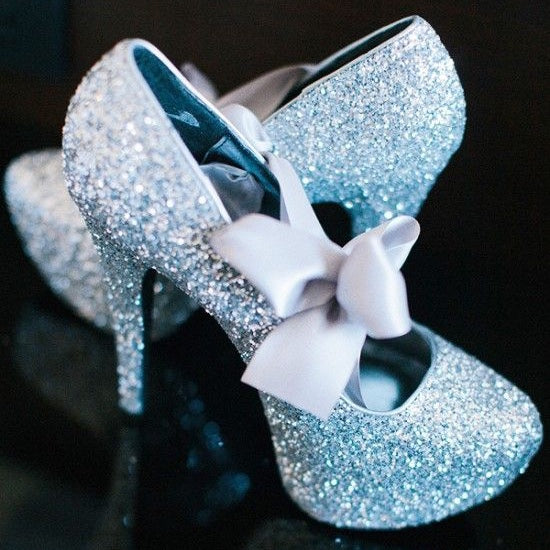 Cinderella Blue Sparkly Glitter heels Light blue Satin Ribbon Bow