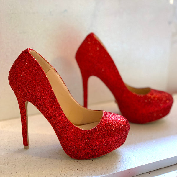 Women's Sparkly Red Glitter pumps Heels wedding - Red