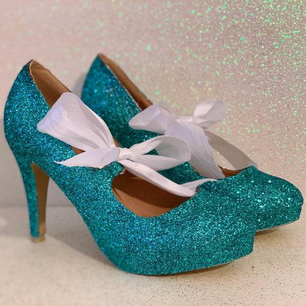 Women's Glitter Heels with Satin Ribbon Bow Tiffany Blue wedding bridal shoes - Glitter Shoe Co