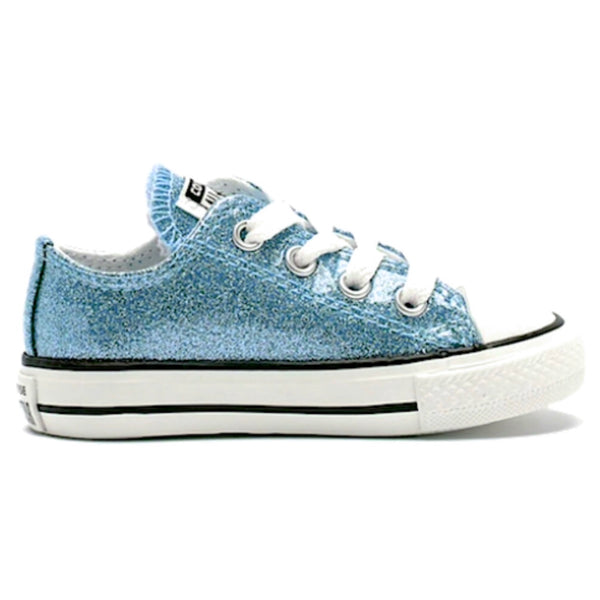 Toddler & Girls Sparkly Glitter Converse All Stars Crystals Sneakers Shoes - Baby Blue
