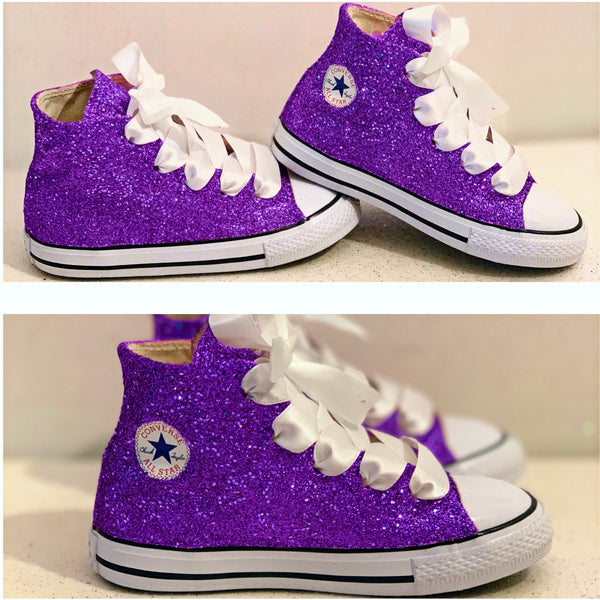 Toddler Glitter Converse All Stars Crystals Flower Girls birthday Shoes Purple