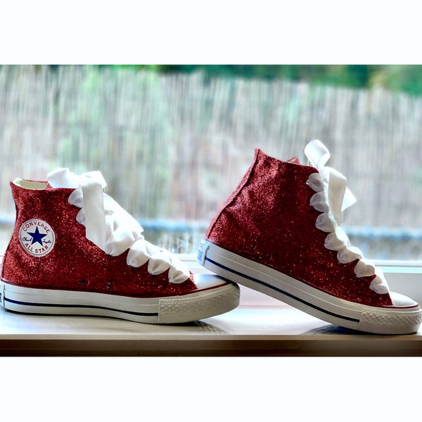 Women's Sparkly Glitter Converse All Stars High Top Burgundy Maroon