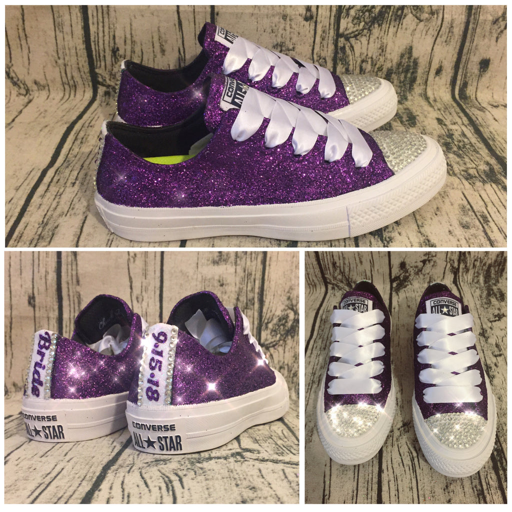 Women's Purple Glitter Crystals Converse All Stars Wedding sneakers shoes