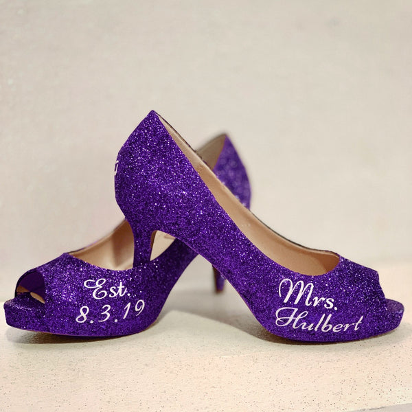 Womens Sparkly Purple Glitter Peep Toe Heels Pumps Wedding