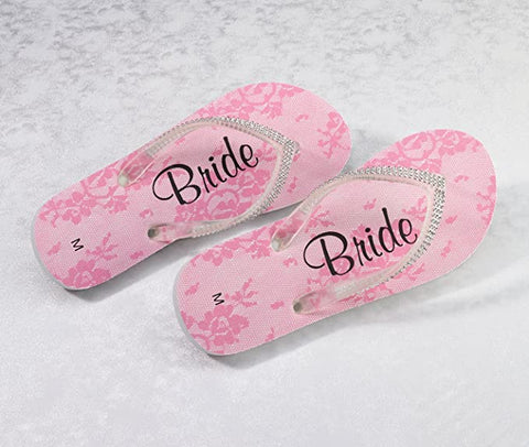 WOMENS PINK BRIDE FLIP FLOP SALE - Size Medium