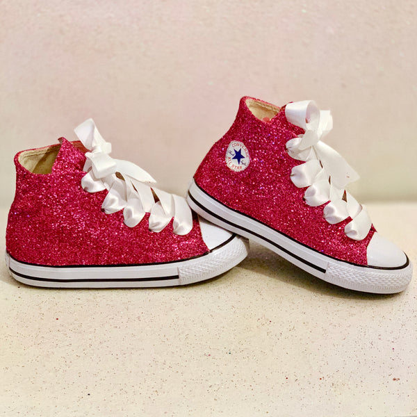 Kids Sparkly Glitter Converse All Stars Flower Girls birthday Shoes Pink Fuchsia