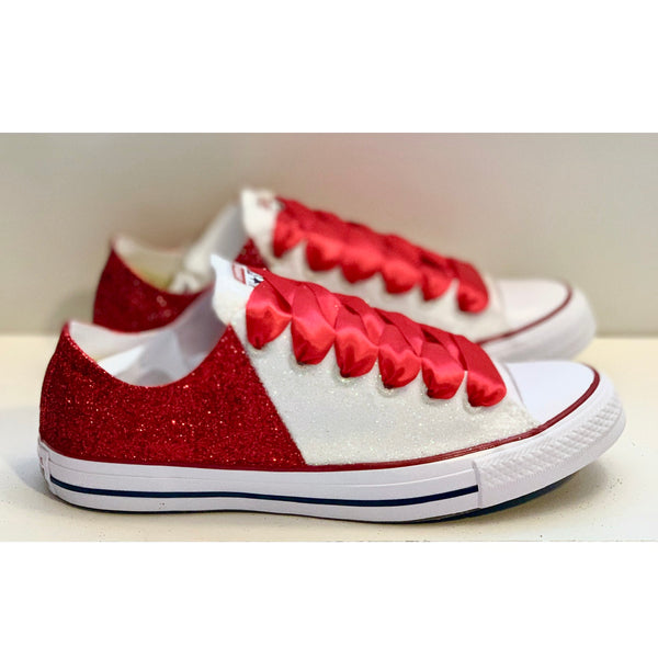 Women's Converse All Star Glitter Sneakers Team Spirit College Sports Shoes Red White