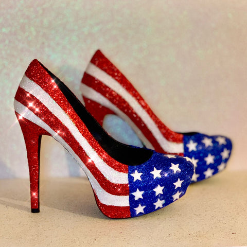 Womens Sparkly Red White Blue American Flag Glitter Heels Star Wedding bride Shoes