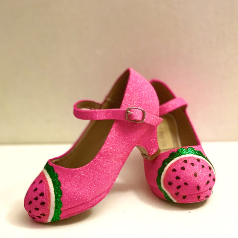 Girls Sparkly Pink Glitter Mary Jane Watermelon Heels Pageant Shoes