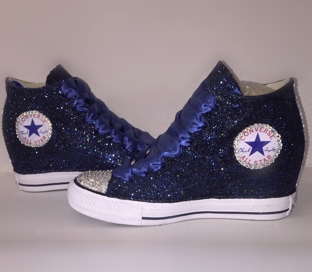ebb98590bb8425 ... high top Wedge Heel wedding bride bridal shoes  Navy Blue Glitter  Converse All Stars Wedge Heels wedding bride prom sneakers shoes  Women s  ...