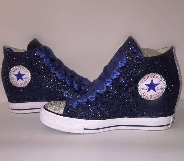 Navy Blue Glitter Converse All Stars Wedge Heels wedding bride prom sneakers shoes