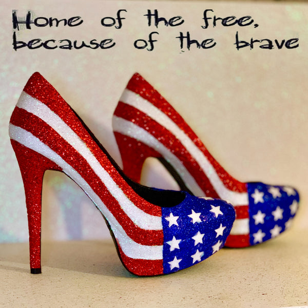Womens Sparkly Red White Blue American Flag Glitter Heels Star Army wife -glitter shoe co