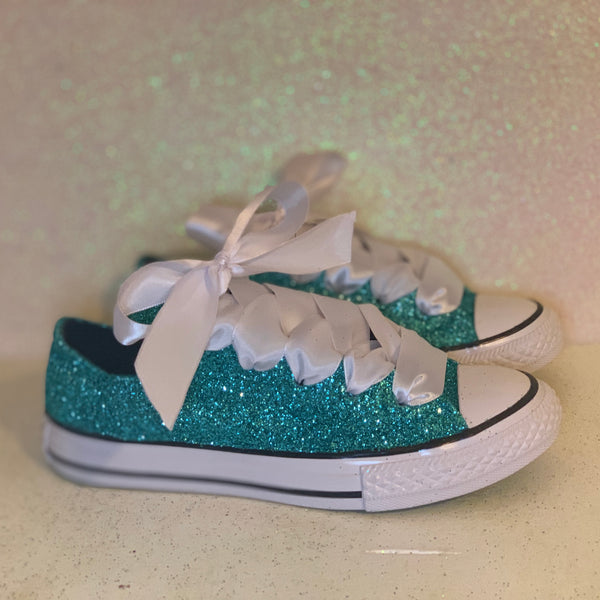 Women's Glitter Converse All Stars with Satin Ribbon Bow bridal wedding sneakers Tiff Blue