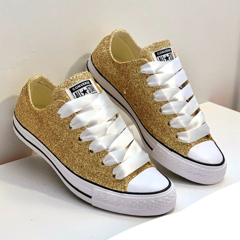 Women's Sparkly Converse All Star Low Sneakers - Pale Gold Glitter