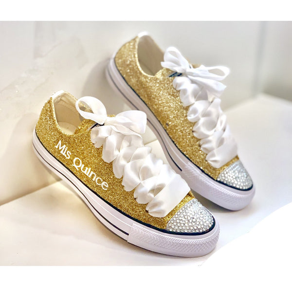 Sparkly Mis Quince Birthday Glitter sneakers Converse All Stars Shoes