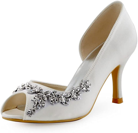 WOMENS IVORY BRIDAL PEEP TOE LAST PAIR SALE SIZE 8