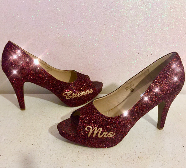 Women's Sparkly Burgundy Maroon Glitter hig Heels shoes - Glitter Shoe Co