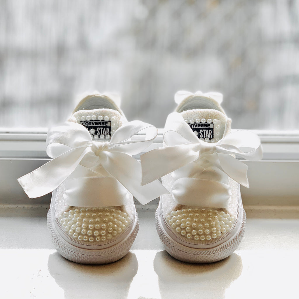 Sparkly White Ivory Glitter Converse All Star Pearls Flower GiRL Baby Toddler Sneakers