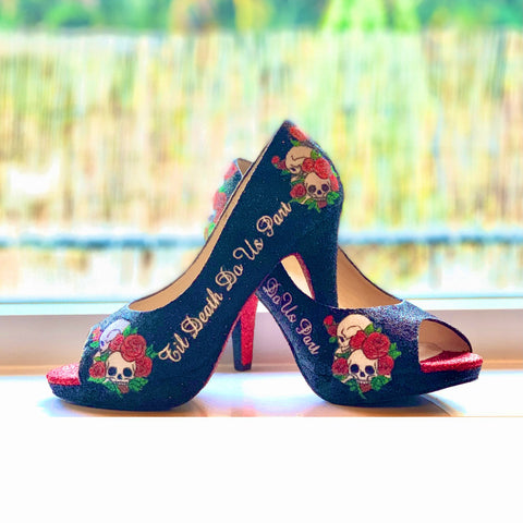 Women's Sparkly Glitter Heels Black Red White Skull Roses Til Death Do Us Part Gothic Love Shoes