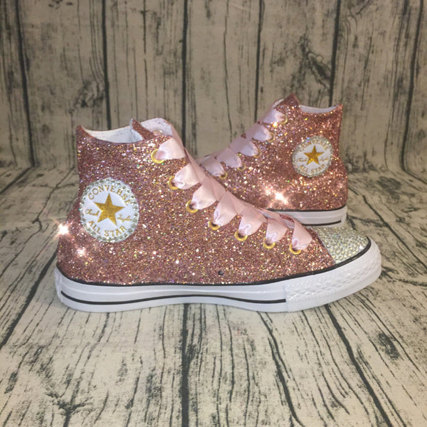 Women's Glitter Crystals Converse All Stars Metallic Rose Gold Pink Prom Wedding Bride Shoes Sneakers
