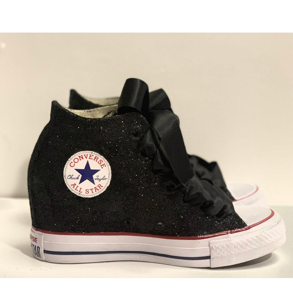 Women's Sparkly Glitter Converse All Stars Lux Wedge Heel - Black
