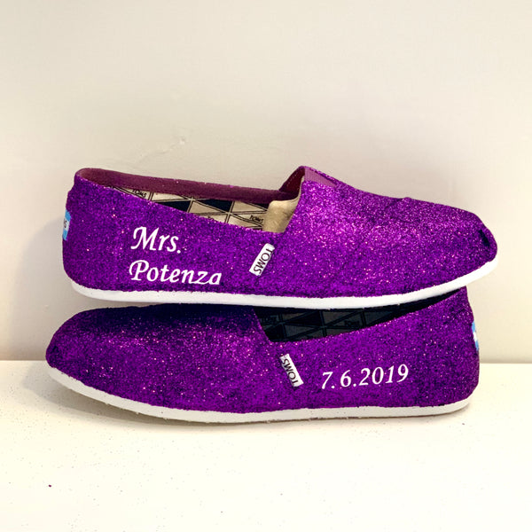 Women's Sparkly Glitter Toms Flat Shoes Purple wedding bride bridal