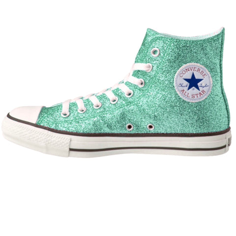 Women's Sparkly Glitter Converse All Stars Hi Top - Mint Green