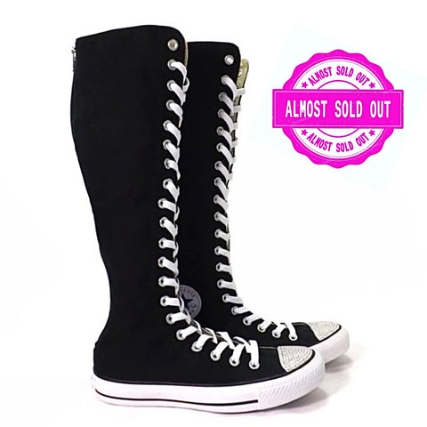 Converse knee high lace up Boots cheerleader shoes sneakers black white high