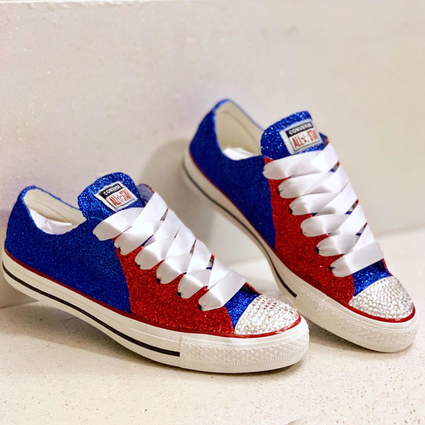 Women's Converse All Star Glitter Sneakers Team Spirit College Sports Shoes Red Blue