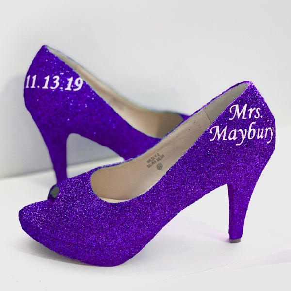 Women's Sparkly Purple Glitter Peep Toe Heels Pumps wedding bride shoes Prom Bridesmaid