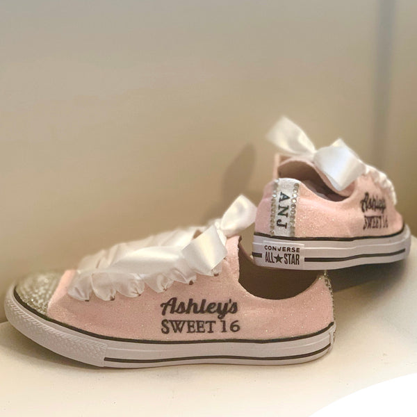 Women's Sparkly Glitter Converse All Star Sneakers - Light Pink Sweet 16 Birthday shoes