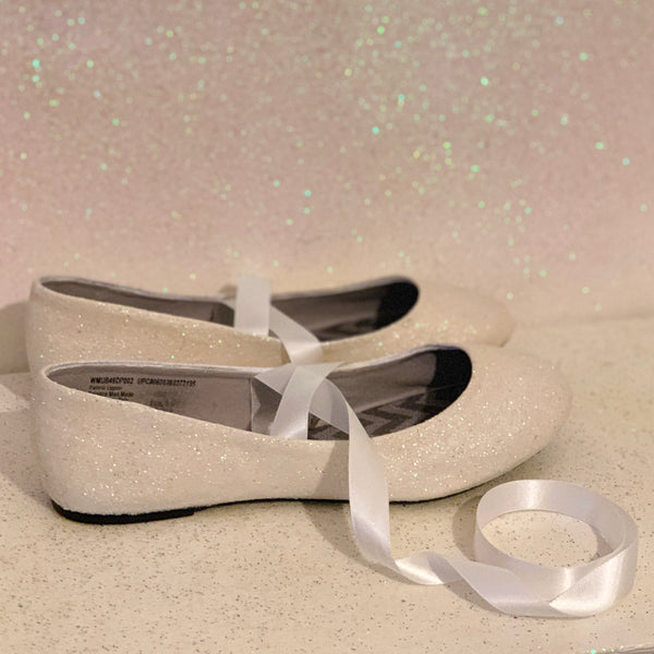 Women's Ivory glitter Ballet Flats Kitten Heels wedding shoes